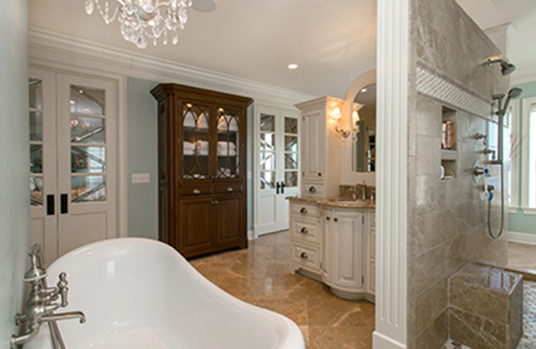Large Bath Features Built-In Furniture Storage Options