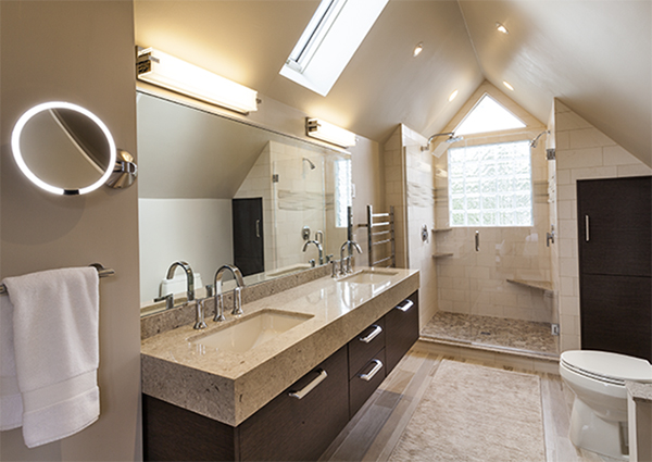 Raised Vanity Design Helps Create Open Master Bath Layout