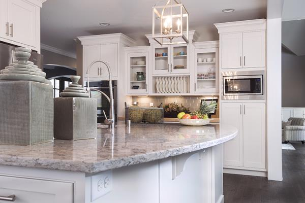 Eye Catching Marble Countertop Accentuates Solid Color Inset Cabinets